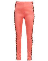 Koche - Bead-embellished Side-stripe Satin Trousers - Lyst