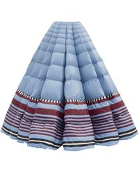 1 MONCLER PIERPAOLO PICCIOLI Striped-hem Pleated Down-filled Maxi Skirt - Blue