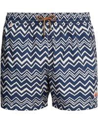 Missoni Zigzag Print Swim Shorts - Blue