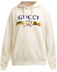 Gucci - スパンコールロゴ フーデッド コットンスウェットシャツ - Lyst