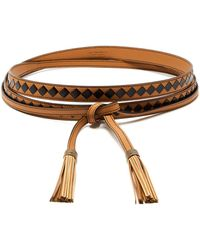 Bottega Veneta - Leather And Watersnake Belt - Lyst