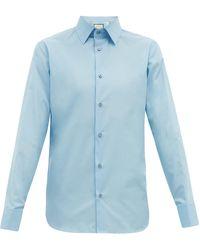 Gucci フレンチカフス コットンポプリンシャツ - ブルー