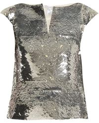 Oscar de la Renta Sequinned Slit Neck Top - Metallic