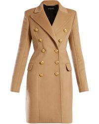 Balmain Manteau en laine à double boutonnage - Neutre