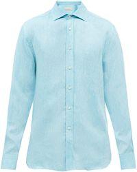 120% Lino 120% Lino ロングスリーブ リネンシャツ - ブルー