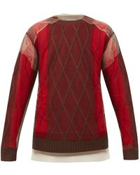 Y. Project Tulle-overlay Argyle Wool Sweater - Red