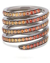 Lynn Ban - - Ombré Sapphire & Rhodium Coil Ring - Womens - Orange - Lyst