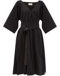 Lemaire ベルテッド ギャバジンドレス - ブラック