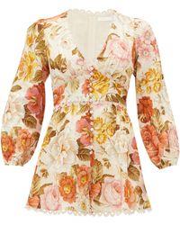 Zimmermann Bonita Floral-print Linen Playsuit - Multicolour