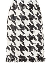 Ashish Fringed Houndstooth-sequinned Skirt - Black