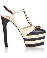 Gucci - Angel Spike-embellished Leather Platform Sandals - Lyst