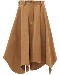 JW Anderson Curved-hem Cotton Cavalry-twill Midi Skirt - Multicolor