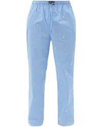 Polo Ralph Lauren ベアエンブロイダリー コットンポプリンパジャマパンツ - ブルー