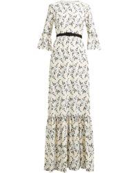 Erdem - Senna Floral Embroidered Belted Gown - Lyst