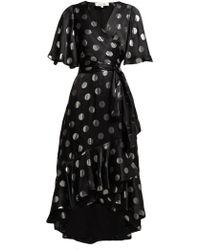 Diane von Furstenberg - Sareth Polka Dot Silk Blend Wrap Dress - Lyst