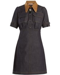 N°21 - Contrast-collar Stretch-cotton Chambray Dress - Lyst