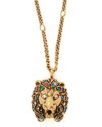 Gucci Crystal Embellished Lion Necklace - Metallic