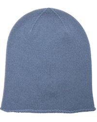 Johnstons of Elgin Rolled-brim Cashmere Beanie Hat - Blue