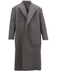 Balenciaga Oversized Prince Of Wales Check Cotton-blend Coat - Gray