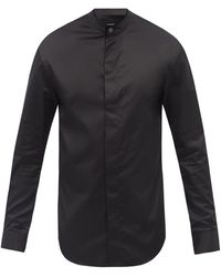 Giorgio Armani Collarless Cotton-poplin Shirt - Black