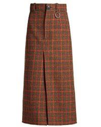 Balenciaga - - Wool Herringbone Checked Split Front Skirt - Womens - Brown Multi - Lyst