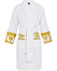 Versace I Love Baroque Logo-jacquard Cotton Bathrobe - White
