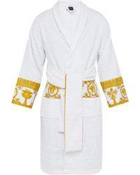 Versace Peignoir en coton à jacquard logo I Love Baroque - Blanc