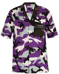 Valentino - Camouflage-print Cotton Shirt - Lyst