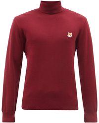 Maison Kitsuné Fox Head Roll-neck Wool Sweater - Red