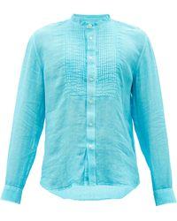 120% Lino 120% Lino ピンタック リネンシャツ - ブルー