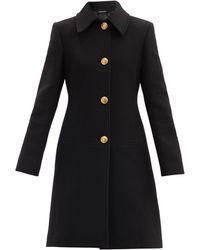 Givenchy Manteau en laine mélangée à boutonnage simple - Noir