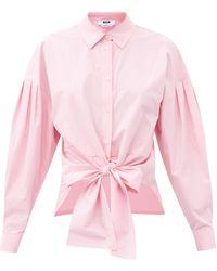 MSGM Tie-front Cotton Shirt - Pink