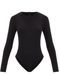 Norma Kamali Scoop-neck Jersey Long-sleeved Bodysuit - Black