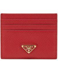 Prada Porte-cartes en cuir saffiano à plaque logo - Rouge
