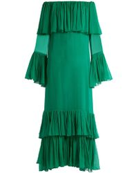 By. Bonnie Young - Off The Shoulder Tiered Silk Chiffon Gown - Lyst