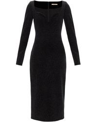 Christopher Kane スウィートハートネック グリッター ベルベットドレス - ブラック