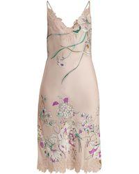 Carine Gilson - Lace-trimmed Silk-satin Cami Midi Dress - Lyst