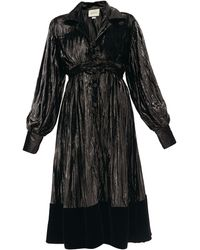Gucci ベルベットヘム プリーツラメドレス - ブラック