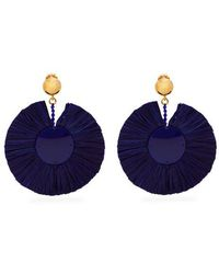 Oscar de la Renta - Bead-embellished Large Raffia Clip-on Earrings - Lyst