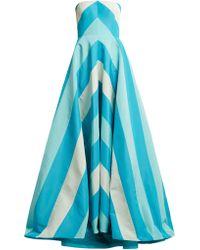 Carolina Herrera - Robe de soirée en faille de soie à chevrons - Lyst