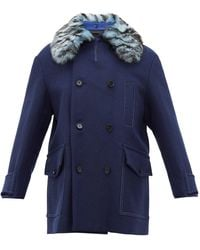 Marni Double-breasted Shearling-collar Wool-blend Coat - Blue