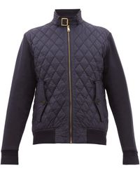 Ralph Lauren Purple Label - Quilted Shell And Jersey Bomber Jacket - Lyst