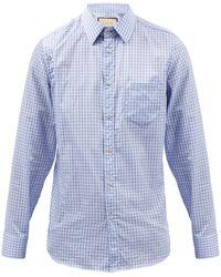 Gucci チェック コットンポプリンシャツ - ブルー