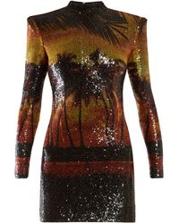 Balmain - Palm Tree Sequinned Mini Dress - Lyst