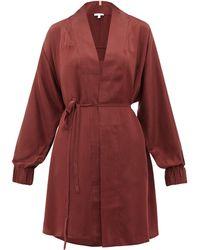 Lunya Robe de chambre en soie à poignets élastiques - Rouge