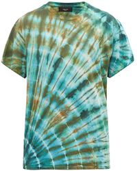 Amiri Distressed Tie-dyed Cotton T-shirt - Green