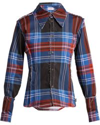 Charles Jeffrey LOVERBOY Teddy Tartan Cotton Shirt - Blue