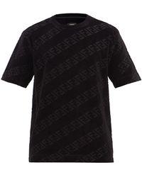 Fendi Ffジャカード コットンブレンドベルベット Tシャツ - ブラック