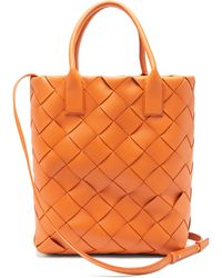 Bottega Veneta Maxi Cabat Intrecciato Woven Leather Tote Bag - Orange