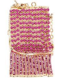 Rosantica Mini Crystal-tassel Picture-frame Necklace Bag - Pink